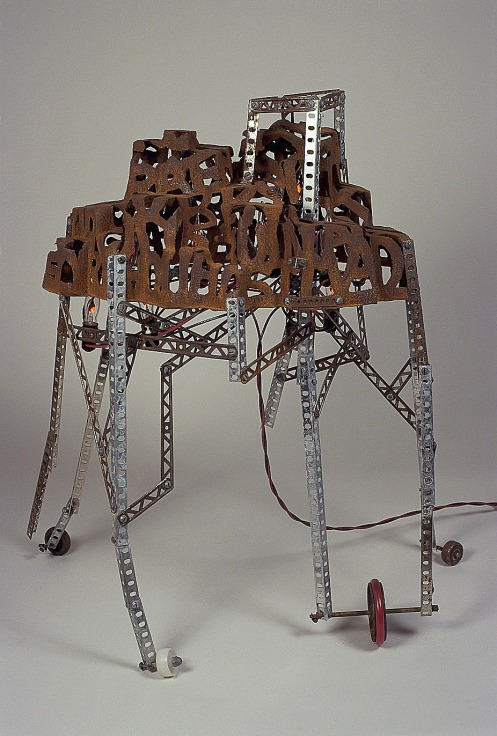 Lauren Grossman. City of Terrible Nations, 2007. Cast iron, steel, rubber, electric lights. 25 x 19 x 14 in.