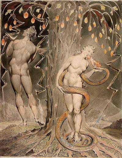 "William Blake. The Temptation and Fall of Eve, 1808. Illustration to Milton's ""Paradise Lost."""
