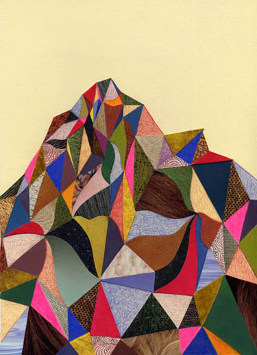 Emily Pothast. Holy Mountain, 2008. Collage and drawing. 11 x 8 inches.