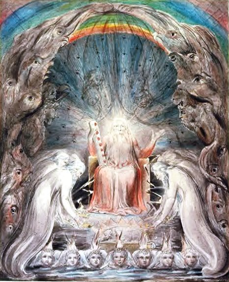 William Blake. The Four and Twenty Elders Cast Their Crowns Before the Throne. Pencil and watercolor, c. 1803.