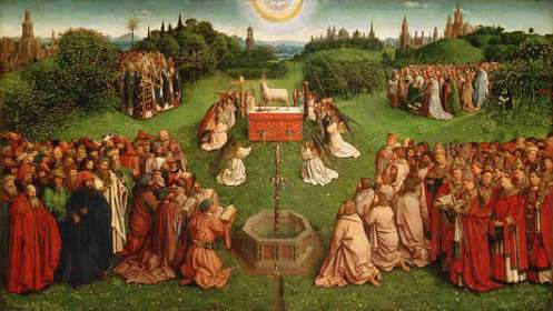 Hubert and Jan Van Eyck. The Adoration of the Mystic Lamb.  Lower center panel of the Ghent Altarpiece, 1432.
