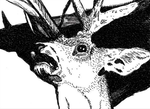 Joey Veltkamp. Deer for My Father. Ink drawing, 2008.