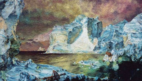 Vic Muniz. The Icebergs (after Frederic Church). Chromogenic print, 2007. 43-1/2 x 73-1/2 in.