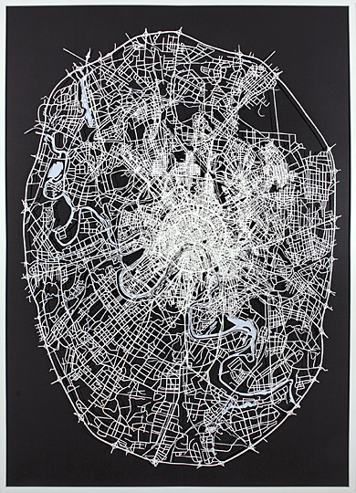 Matthew Picton. Moscow 1808, 1905, 2007. Duralar, enamel paint and pins, 2008. 84 x 61 x 3 inches.
