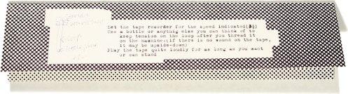 Bruce Nauman. Footsteps. Magnetic tape loop inside cardboard folder. For SMS #5, 1968.
