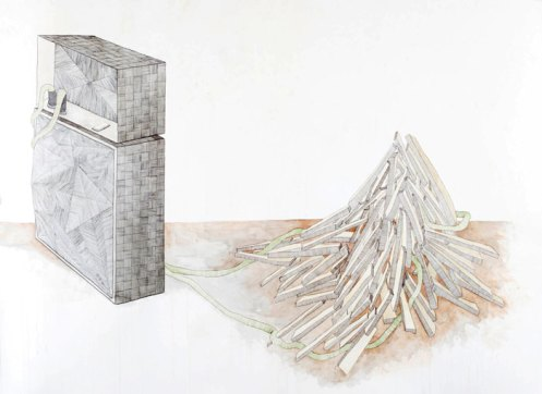 Garek J. Druss. Guitar Amp and Stack of Wood. Mixed media drawing, 2008. 71 x 52 inches.