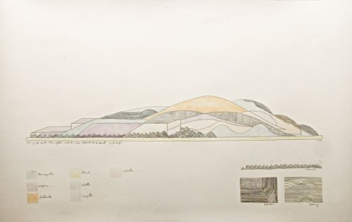 Garek Druss. Recorded Material. Watercolor, graphite and pen, 2009. 36 x 24 inches.