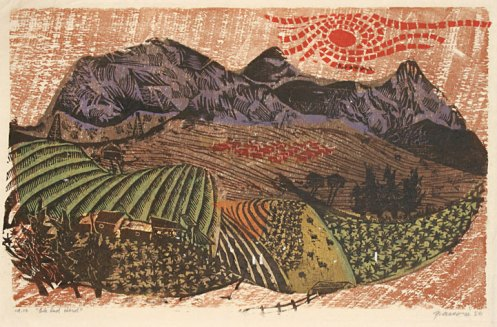 Antonio Frasconi. Ole Red Herd. Color woodcut, 1956. 13 x 20-1/2 inches.