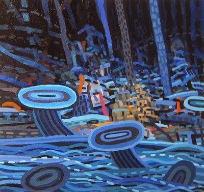 Cable Griffith. Flash Flood. Acrylic on canvas, 2008. 12 x 12 inches.