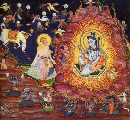 Amardas Bhatti. Prince Subuddhi (a heroic ancestor of the Rathore dynasty) meets Shiva in the Forest of Illusion. Gouache on handmade paper, 1830.