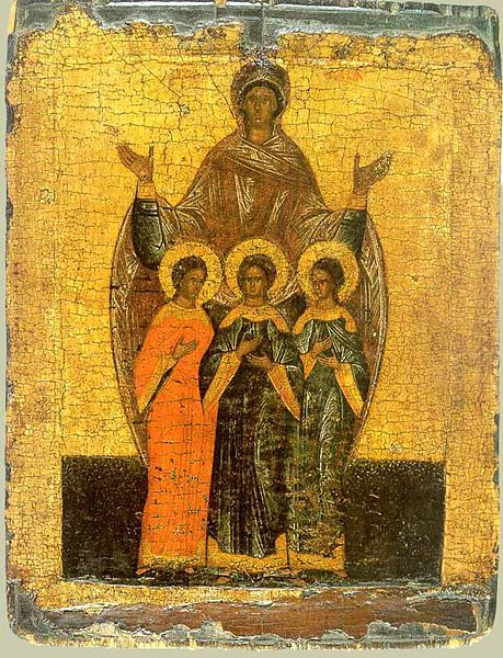 Sophia the Martyr with Three Daughters. Russian Icon, 16th c.