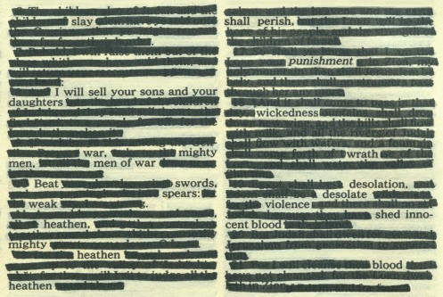 Emily Pothast. The Holy Bible: New American Revision. Bible and archival markers, 2005.