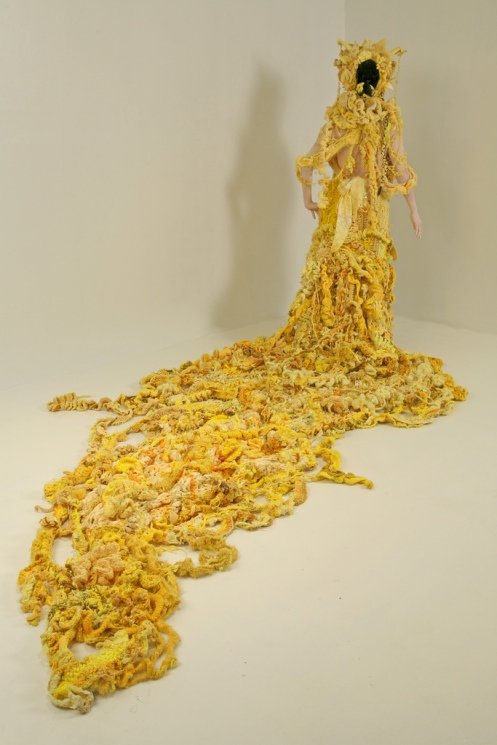 "Mandy Greer. Slug Princess. Crocheted gown for ""The Silvering Path,"" collaboration with Haruko Nishimura and Ian Lucero."