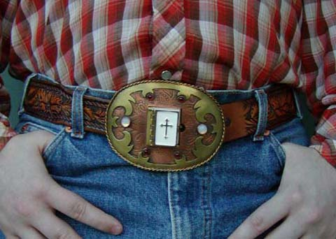 Emily Pothast. Bible Belt Buckle. Etched copper, brass, stones, miniature Bible, 2003.