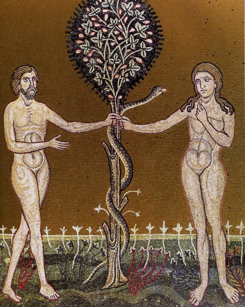 Adam and Eve with the Serpent. Mosaic, c. 12th/13th c., Sicily.