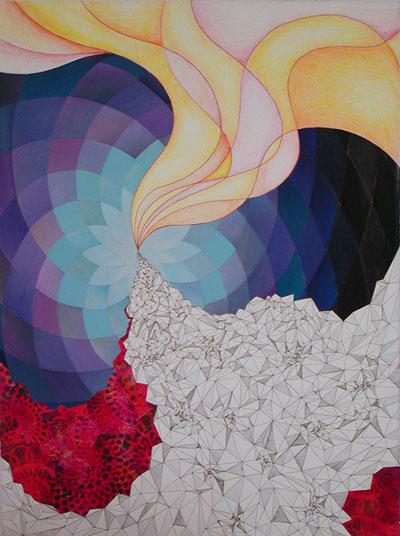 Emily Pothast. Syzygy. Collage, colored pencil and ink on paper, 2009. 30 x 22 inches.