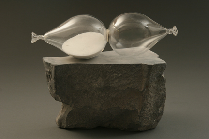 Debra Baxter. Time Out. Glass, sand, sterling silver, African wonder stone, 2009. 14 x 13 x 10 in.
