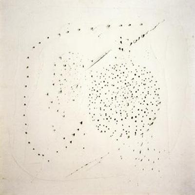 Lucio Fontana. Concetto Spaziale (Spatial Concept), 1949. White paper mounted on canvas. Fondazione Lucio Fontana, Milan.