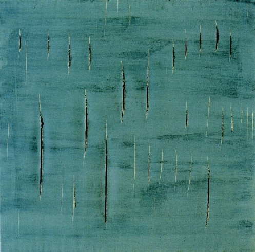 Lucio Fontana. Concetto Spaziale, 1958. Graffiti, cuts and dye on paper mounted to canvas. Fondazione Lucio Fontana, Milan.
