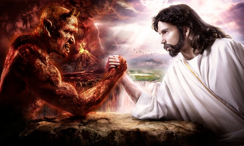 "Jesus Armwrestles Satan. Via flickr.com user ""robotsluvme"""