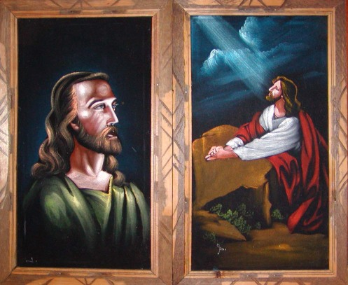 After Warner Sallman. Velvet Jesus paintings, c. 1970s.