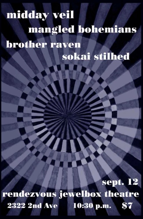 Midday Veil, Mangled Bohemians, Sokai Stilhed, Brother Raven @ Rendezvous Jewelbox