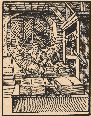 Early woodcut of a printing press, c. 1500. Via esotericbookconference.com
