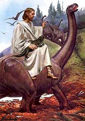 Jesus riding a dinosaur. Image source unknown.