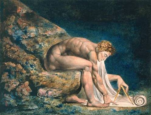 William Blake. Portrait of Newton. Pen and ink with watercolor, 1795.