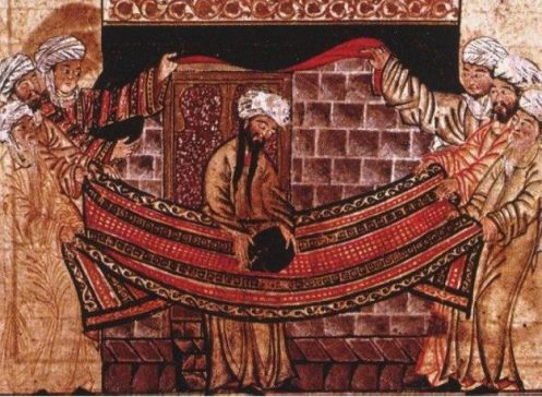 Muhammad rededicating the Black Stone at the Kaaba