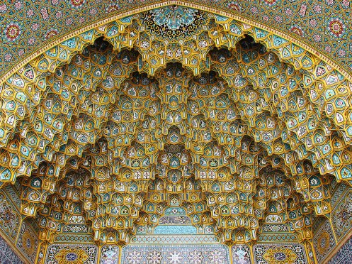 Muqarnas of Fatima Masumeh Shrine, Qom, Iran. Many features of Islamic architecture are built on the harmonic series, underscoring the mathematical unity between sound and space