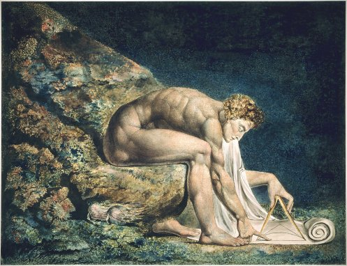 "William Blake. ""Newton,"" pen, ink and watercolor, 1795."