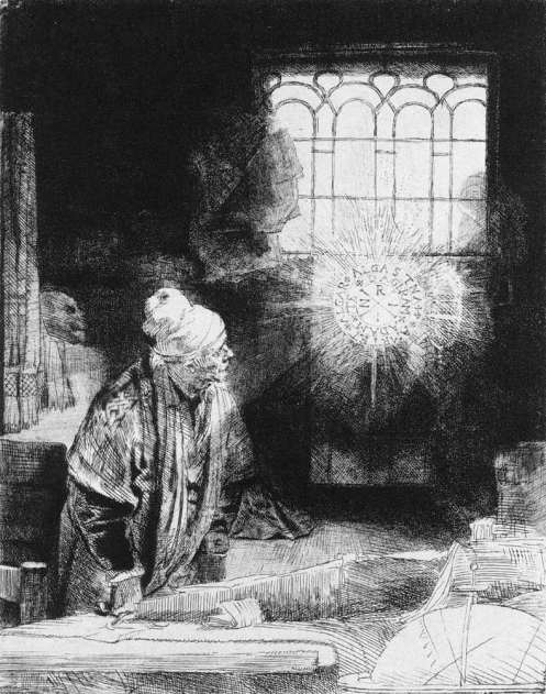 "Rembrandt Van Rijn. ""A Scholar in his Study,"" etching and drypoint, c. 1650s"